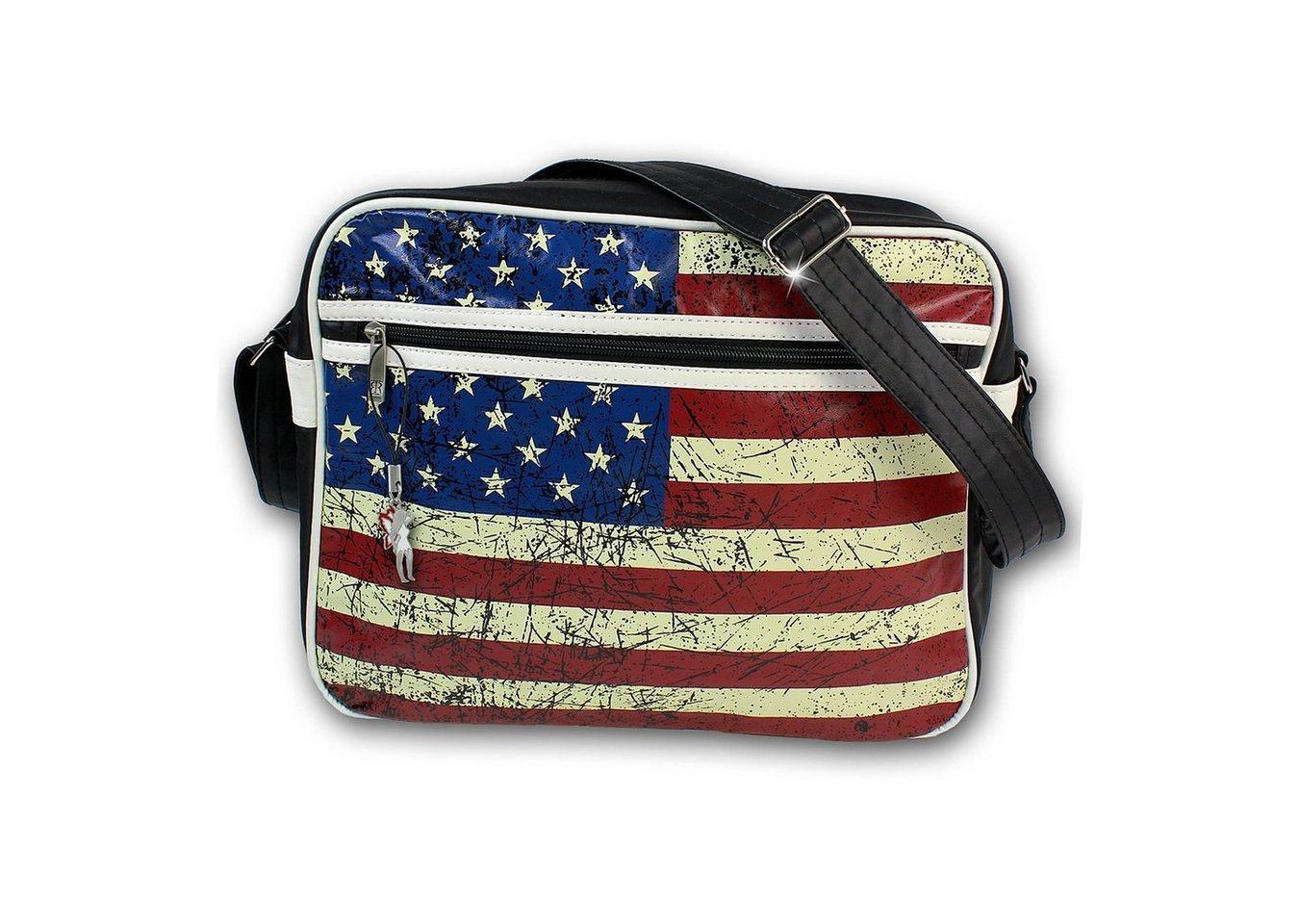robin ruth -  Umhängetasche »OTG1040F  USA Flagge Umhängetasche« (Umhängetasche), Umhängetasche Kunstleder, schwarz ca. 36cm x ca. 12cm