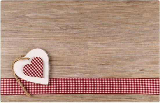 Platzset, »Platzset Sommer Herzen auf Holz 1 Stk. 43,5 cm«, matches21 HOME & HOBBY