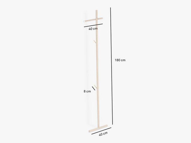 Garderoben Sets - kommod Garderobe »STEKKA«, Lehngarderobe, Standgarderobe, Design Wandgarderobe – 180 x 40 x 40 cm – Eiche massiv natur  - Onlineshop OTTO