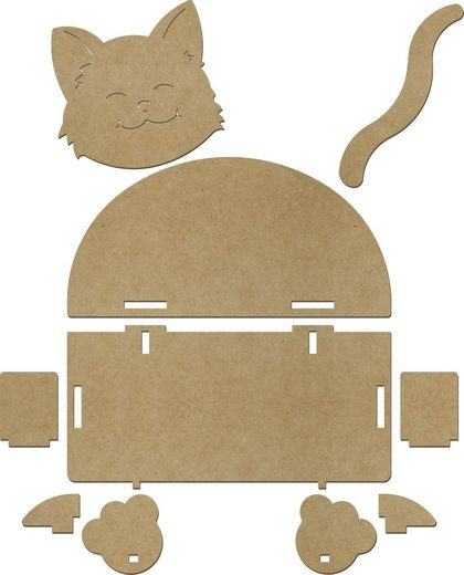 VBS Dekoobjekt »Wandregal Katze«, 10-tlg MDF-Holz, B 39 x H 34,5 x T 19,5 cm