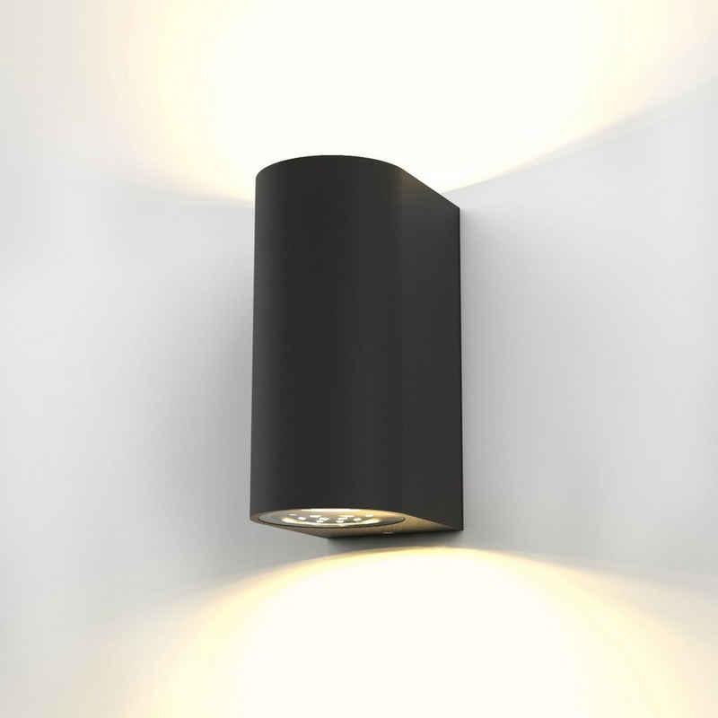 B.K.Licht LED Außen-Wandleuchte »Volans«, LED Außenleuchte IP44 Wand-Spot Strahler Lampe Bad GU10 Schwarz inkl. 5W 400lm