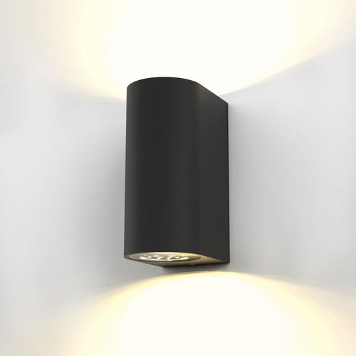 B.K.Licht LED Außen-Wandleuchte »Volans [Schwarz]«, 2-flammige Außenwandleuchte, IP44 Spritzwasserschutz, inkl. GU10 Leuchtmittelm, Schwarz