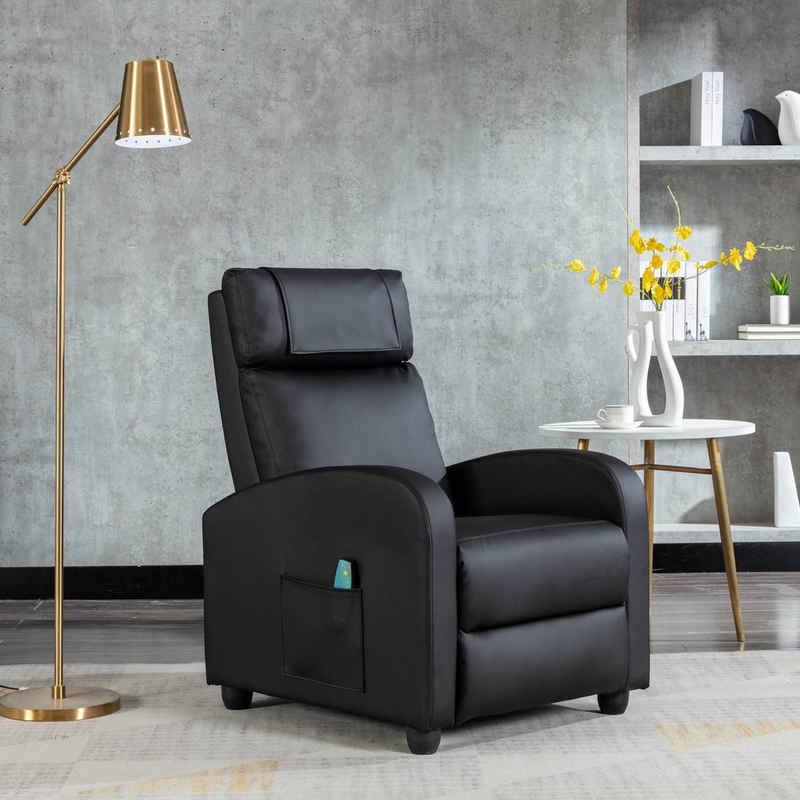 HomeGuru Relaxsessel »Relaxsessel mit Liegefunktion, Massagefunktion und Wärmefunktion, Fernsehsessel«, PU Kunstleder, schwarz