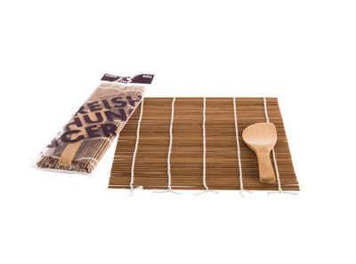 Reishunger Sushi-Roller »Reishunger Sushi Rollmatte aus Bambus mit Löffel (24x24cm) - Für die Zubereitung von Maki-Sushi - erhältlich als 1er, 4er und 10er Pack«, (Set mit Sushi Rollmatte und Löffel 1-tlg)