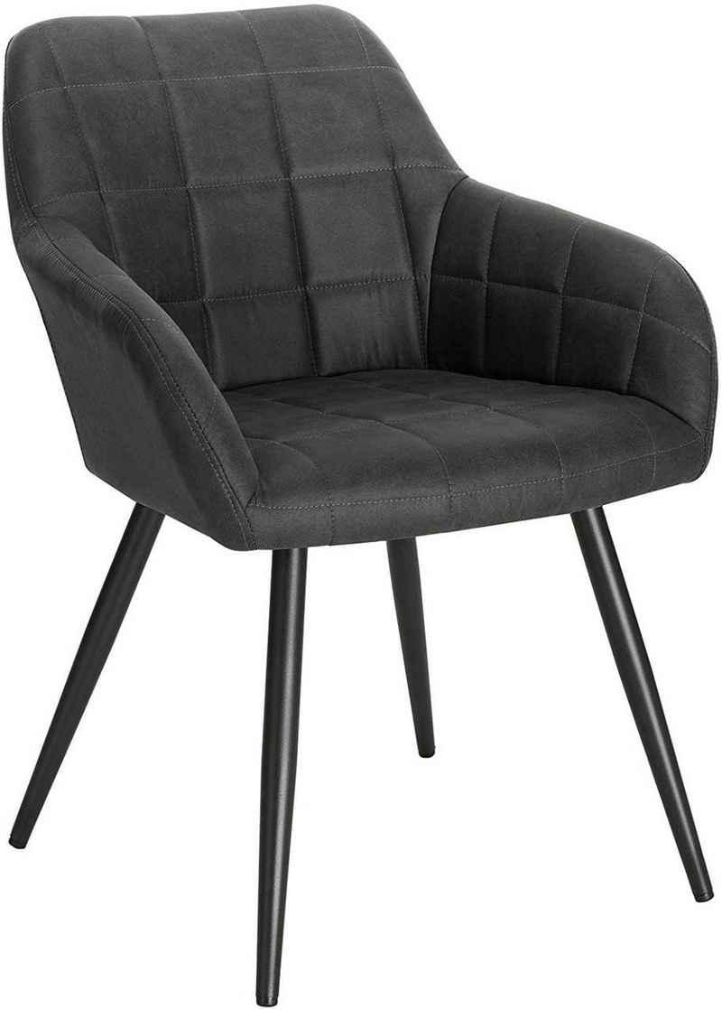 Woltu Esszimmerstuhl »BH224«, mit Armlehne, Sitzfläche aus Stoffbezug, Metallbeine