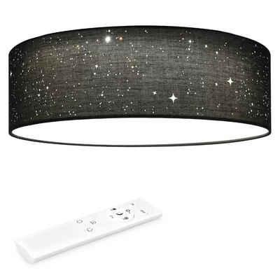 Navaris LED Deckenleuchte, rund mit Sterneneffekt - dimmbar mit Fernbedienung - verstellbare Farbtemperatur - Design Stoff Deckenlampe