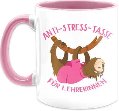 Shirtracer Tasse »Anti Stress Tasse für Lehrerinnen Faultier - Tasse Berufe - Tasse zweifarbig«, Keramik