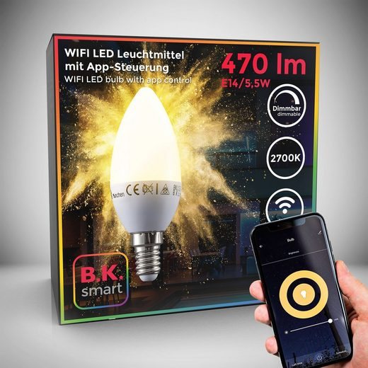 B.K.Licht LED-Leuchtmittel, E14, 1 Stück, Warmweiß, Smart Home LED-Lampe RGB WiFi App-Steuerung dimmbar Glühbirne 5,5W 470 Lumen