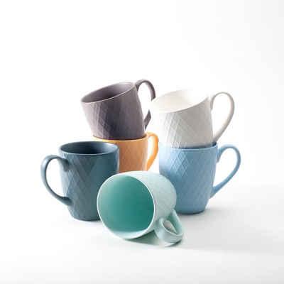 Hanseküche Tasse »Hanseküche Kaffeebecher 6er Set in Groß – Kaffeetassen aus hochwertiger und massiver Keramik, 400 ml Volumen und großer Henkel, große Becher in mehreren Farben und schönem Muster (Bunt)«