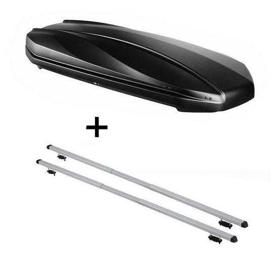 VDP Fahrradträger, DACHBOX STRIKE 440 Liter schwarz matt + Dachträger RAPID kompatibel mit Mercedes C Kombi (S203) (5Türer) 00-07