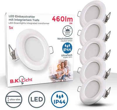 B.K.Licht LED Einbauleuchte, LED Einbaustrahler Badlampe IP44 5W Spot Strahler flach 5er SET