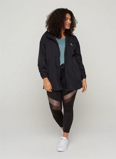 Active by ZIZZI Trainingsjacke Große Größen Damen Jacke mit Kapuze, Reißverschluss und Taschen