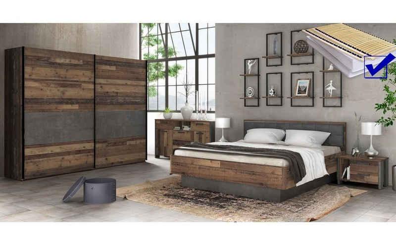 expendio Schlafzimmer-Set »Cedric 94A«, (Spar-Set, 9-St), Old Wood Vintage / Betonoptik dunkelgrau 180x200 cm mit Kunstleder-Kopfteil inkl. Lattenrost und Taschenfederkernmatratze