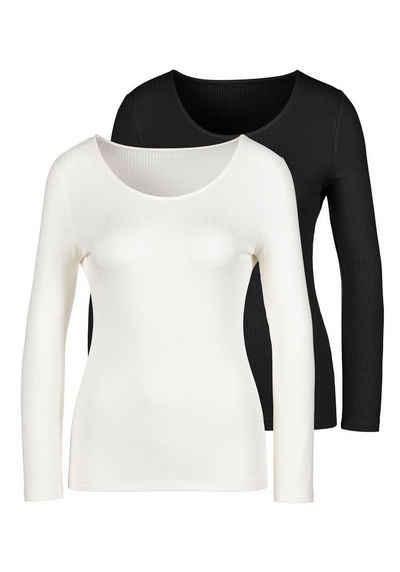 LASCANA Langarmshirt (2er-Pack) aus besonders weicher Rippqualität