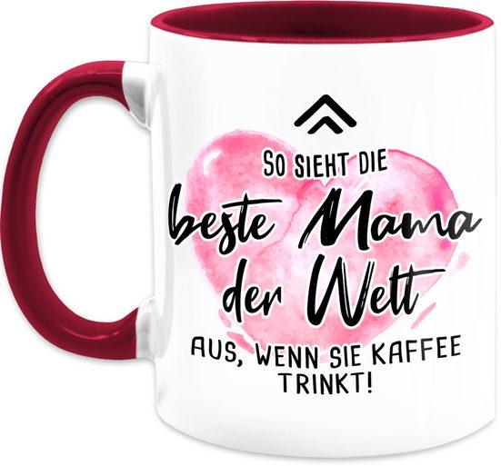 Shirtracer Tasse »So sieht die beste Mama der Welt aus, wenn sie Kaffee trinkt rosa - Muttertagsgeschenk Tasse - Tasse zweifarbig«, Keramik