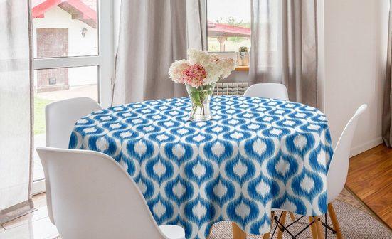 Abakuhaus Tischdecke »Kreis Tischdecke Abdeckung für Esszimmer Küche Dekoration«, Blau Weiss Verschwommen Damast Motive