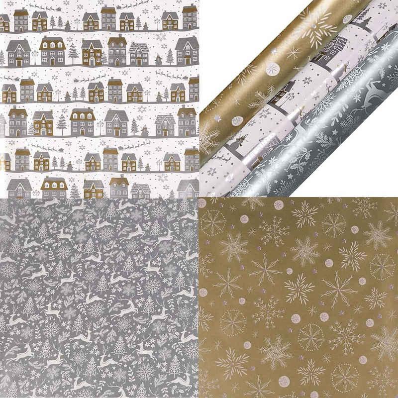 maDDma Geschenkpapier »3 Rollen Weihnachts-Geschenkpapier Verpackungspapier Weihnachten Geschenkverpackung Motivwahl«, Weihnachtsglanz
