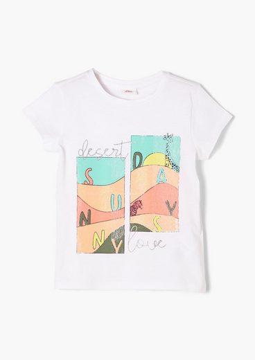 s.Oliver Kurzarmshirt »Printshirt mit Glitzer« (1-tlg) Glitzer