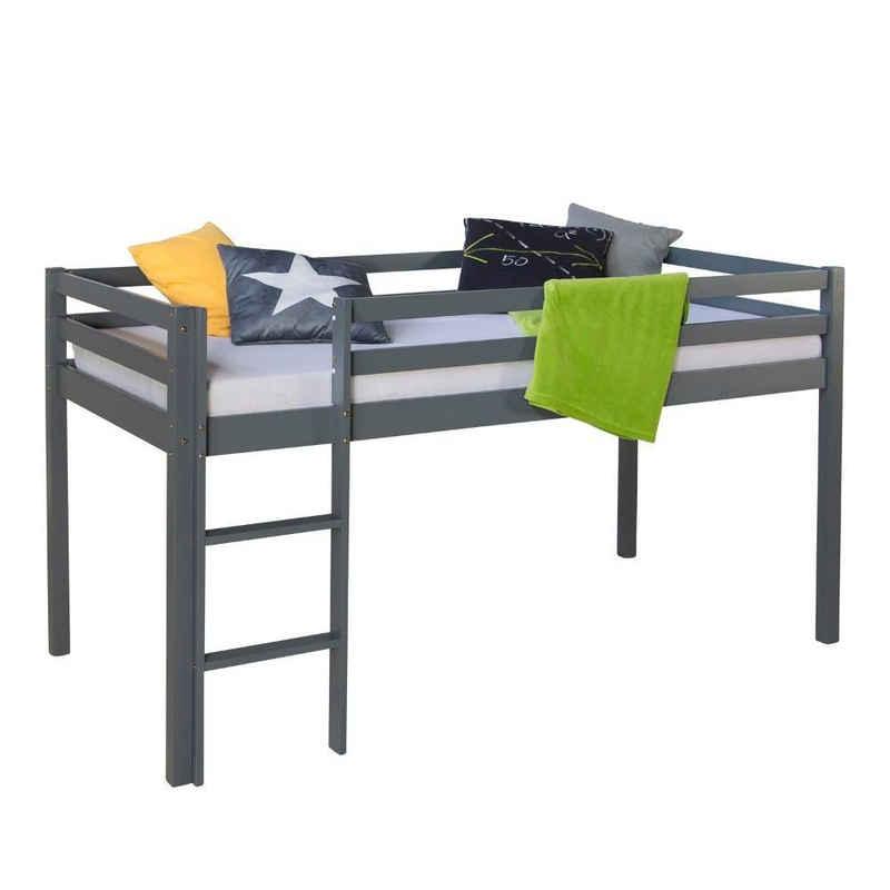 Homestyle4u Hochbett »Spielbett Kinderbett Kiefer grau 90x200 massiv« (aus Kiefernholz)