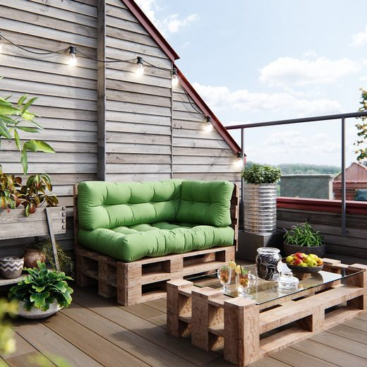 Vicco Palettenkissen »Palettenkissen-Set Sitzkissen Rückenkissen Seitenkissen 15cm hoch Palettenmöbel Flocke grün«