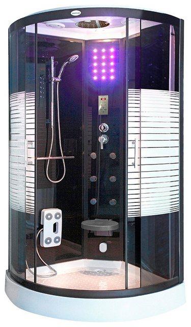 Duschen und Zubehör - HOME DELUXE Komplettdusche »Dampfdusche Black Pearl«, BxT 90x90 cm, Sicherheitsglas, 1 tlg., mit LED Beleuchtung und Radio  - Onlineshop OTTO