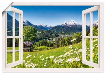 Artland Wandbild »Fensterblick Bayerischen Alpen«, Berge (1 Stück), in vielen Größen & Produktarten - Alubild / Outdoorbild für den Außenbereich, Leinwandbild, Poster, Wandaufkleber / Wandtattoo auch für Badezimmer geeignet