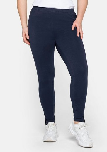 Sheego Leggings in Ankle-Länge, mit Knopf-Detail am Saum