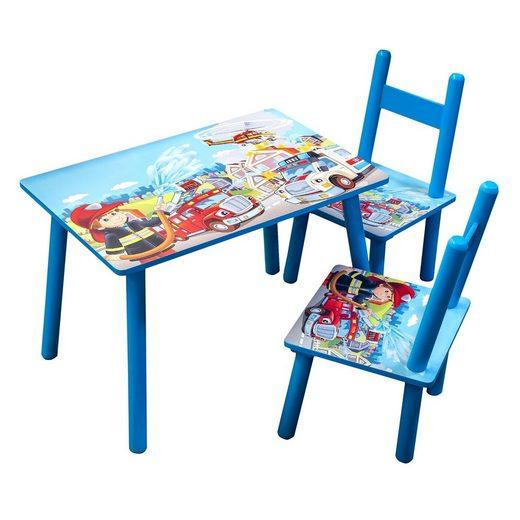 HTI-Line Kindersitzgruppe »Kindertischgruppe Feuerwehr«, (1 Tisch und 2 Stühle, 3-tlg), Kindertischgruppe