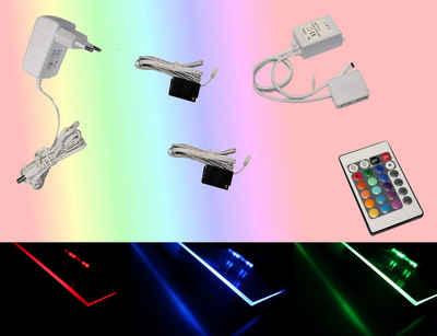 TRANGO LED Glaskantenbeleuchtung, 2er Set RGB Farbwechsel LED Glaskantenbeleuchtung 5022-02 inkl. Fernbedienung Schrankbeleuchtung I Glasbodenbeleuchtung I Vitrinenbeleuchtung I LED Clips I Möbelbeleuchtung