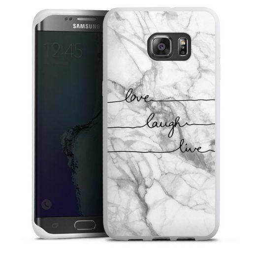 DeinDesign Handyhülle »love, laugh, live Marmor« Samsung Galaxy S6 Edge Plus, Hülle Marmor Sprüche Liebe