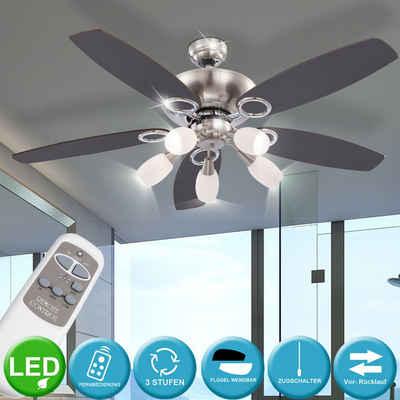 etc-shop Deckenventilator, LED Deckenventilator inkl. Fernbedienung Zugschalter 3 Stufen Flügel wendbar 130 cm