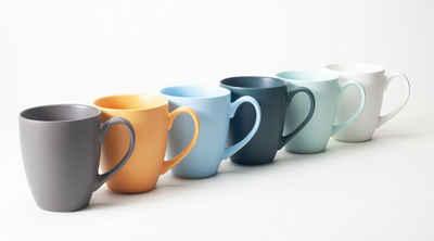 Hanseküche Tasse »Hanseküche Kaffeebecher 6er Set in Groß – Kaffeetassen aus hochwertiger und massiver Keramik, 400 ml Volumen und großem Henkel, große Becher in mehreren Farben und schönem Muster (Bunt Matt)«