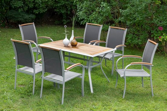 MERXX Diningset »Siena«, 7-tlg., 6 Sessel, 1 Tisch 140x80 cm, Aluminium