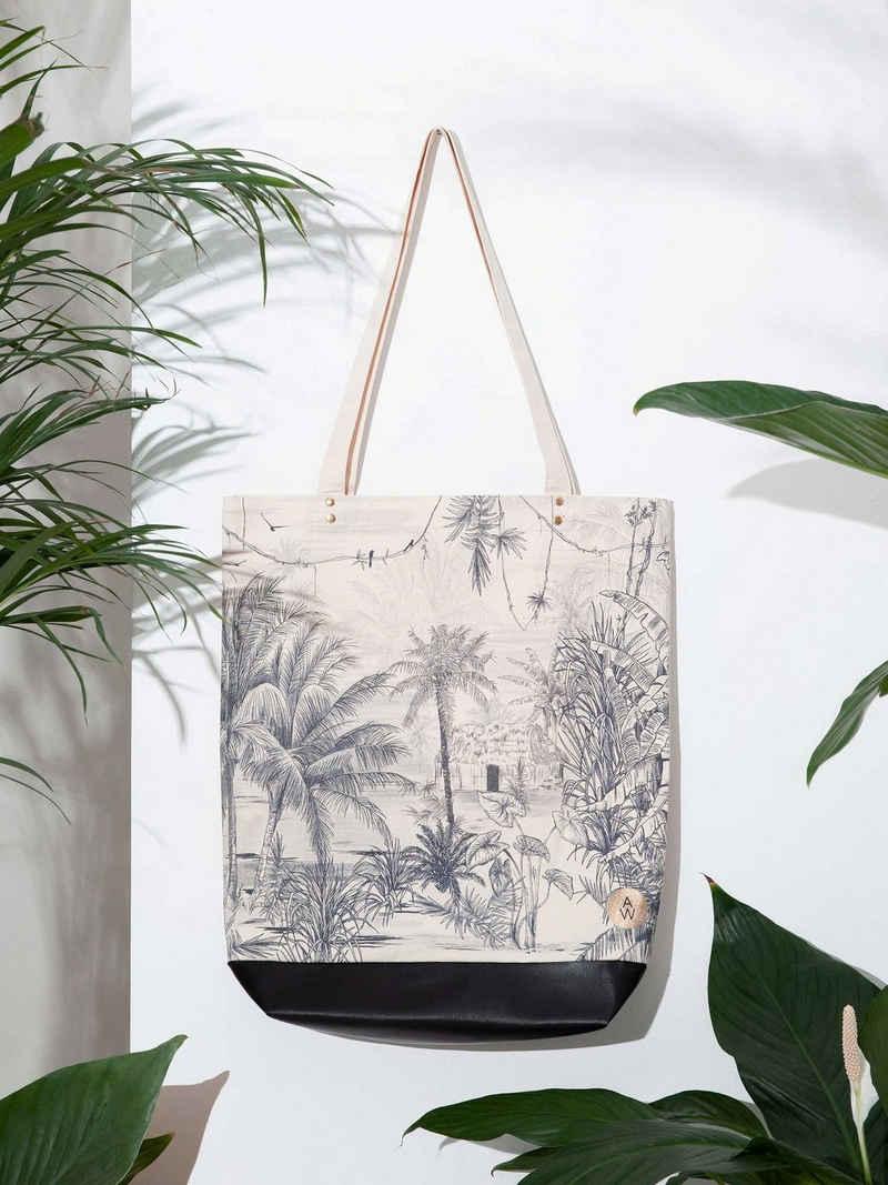 Cosy Home Ideas Shopper »Shopper Einkaufstasche Baumwolle bedruckt Dschungel« (1 Stück, 1x Shopper Baumwolle), strapazierfähige Baumwolle und Kunstleder