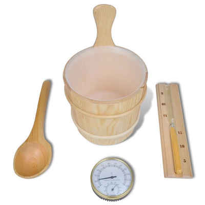 vidaXL Sanduhr »Kübel Sanduhr Thermometer Saunakübel Löffel Saunazubehör«
