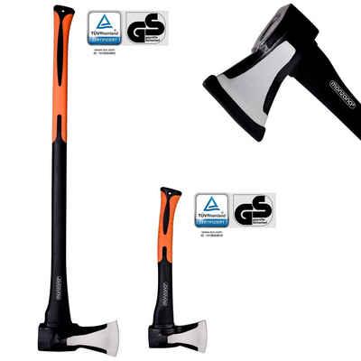 Deuba Axt, Beil Set ergonomischer Handgriff Gummischutz Universal Spaltaxt Spaltbeil Spalthammer Holzspalter