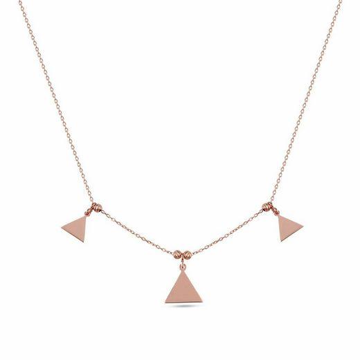 dKeniz Anhänger mit Kette »925/- Sterling Silber rosévergoldet Dreieck-Silber«