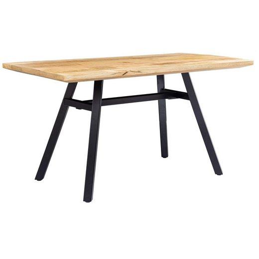 FINEBUY Esstisch »FB54911«, Esstisch Mango Massivholz 180x78x90 cm Esszimmertisch Natur Küchentisch Massiv mit Metallgestell Loft Holztisch Industrial Tisch
