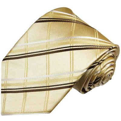 Paul Malone Krawatte »Designer Seidenkrawatte Herren Schlips modern gestreift 100% Seide« Breit (8cm), gold braun 970
