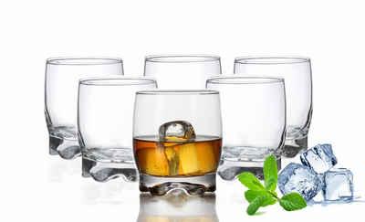 PLATINUX Glas »Trinkgläser«, Glas, Set 6 Teilig 250ml geformter Boden Wassergläser Saftgläser Whiskeygläser