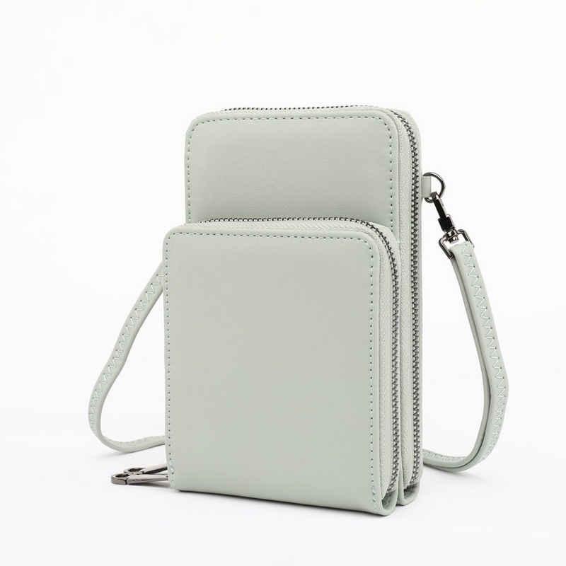 TAN.TOMI Umhängetasche »Handytasche zum Umhängen, Handy Tasche Geldbörse mit vielen Fächern, Umhängetasche klein«, mit abnehmbarem Gurt und Metallreißverschluss