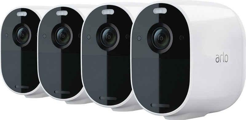 ARLO »Arlo Essential Spotlight-Kamera-Set« Überwachungskamera (Außenbereich, Innenbereich, Set, 4 x Arlo Essential Spotlight-Kamera, Reichweite: Bis zu 91,4 m Sichtbereich, Kabellose Bewegungserkennung - bis auf 7 m einstellbar, integrierte Sirene)