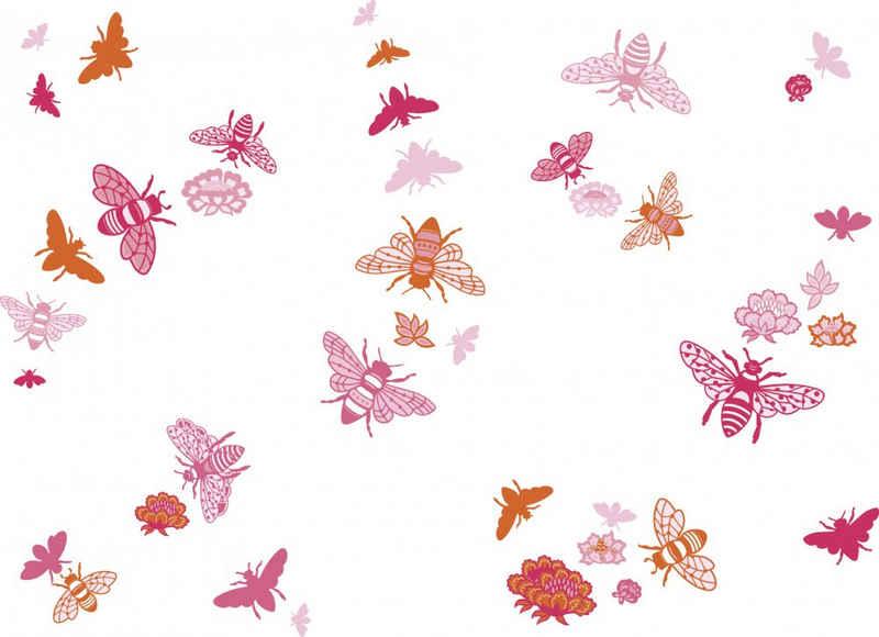 anna wand Wandsticker »Bienen - Bee at home - rosa/orange/ pink - selbstklebend«