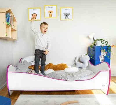 Alcube Bett »Kinderbett 70x140 cm«, Jugendbett mit Rausfallschutz inkl. Matratze und Lattenrost