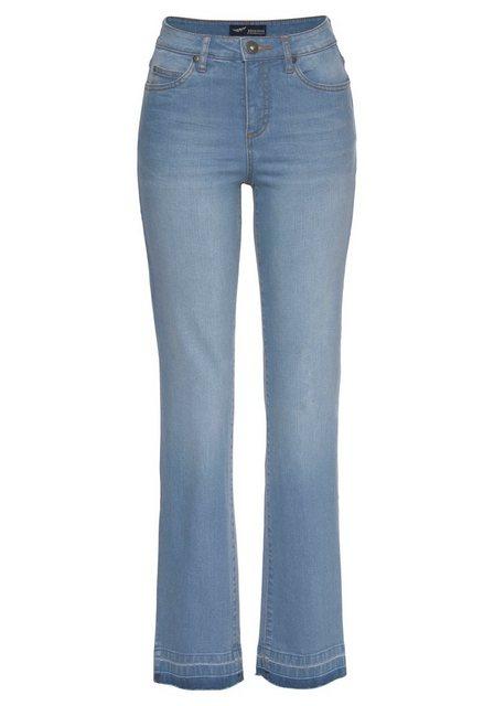 Hosen - Arizona Gerade Jeans »Comfort Fit« High Waist mit Fransensaum › blau  - Onlineshop OTTO