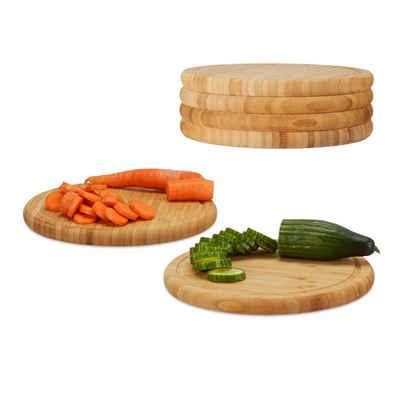 relaxdays Frühstücksbrett »Frühstücksbrettchen Set 25 cm«, Bambus