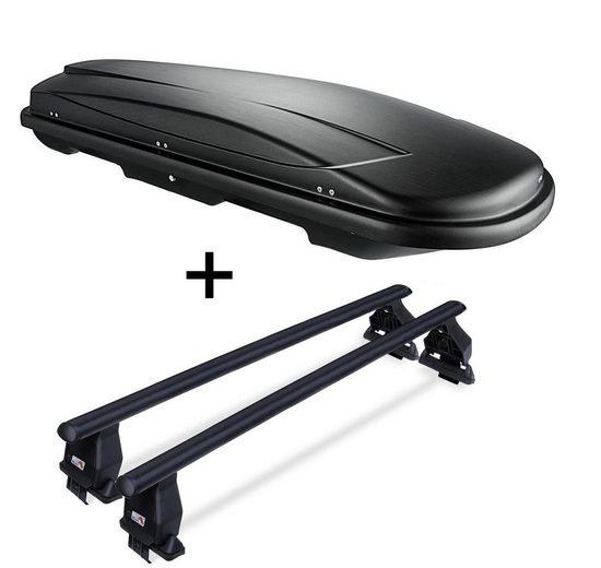 VDP Fahrradträger, Dachbox VDPJUXT500 500Ltr abschließbar schwarz + Stahl Dachträger Menabo Tema kompatibel mit Porsche Macan (95B) (5 Türer) ab 13