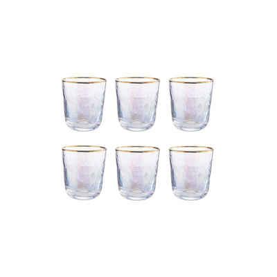 BUTLERS Glas »SMERALDA 6x Trinkglas mit Goldrand 280ml«, Glas, mundgeblasen, 6x Trinkglas mit Goldrand 280ml - mundgeblasenes Glas - Wasserglas, Saftglas