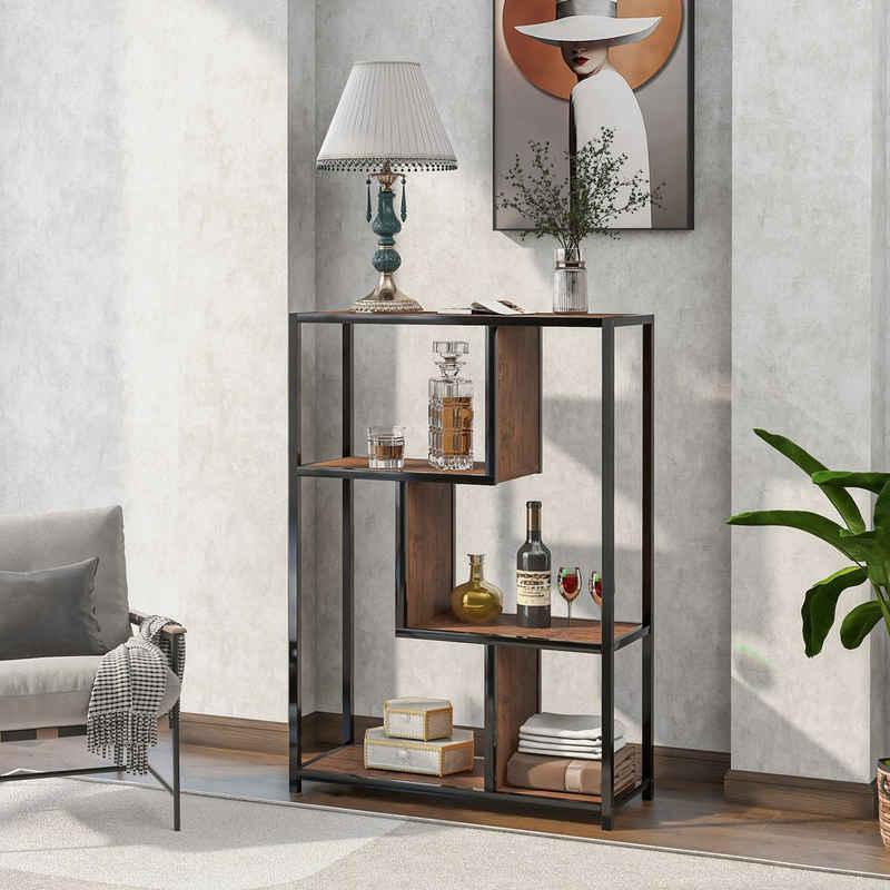Merax Bücherregal »LivingSuper«, Standregal mit 3 offenen Fächern, vintage Bücherschrank für Wohnzimmer, Industrielled Lagerregal