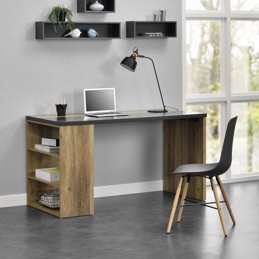 en.casa Schreibtisch, »Velten« mit 3 Ablagefächern - MDF, furniert - 140x68x77cm - Holzfarben / Grau